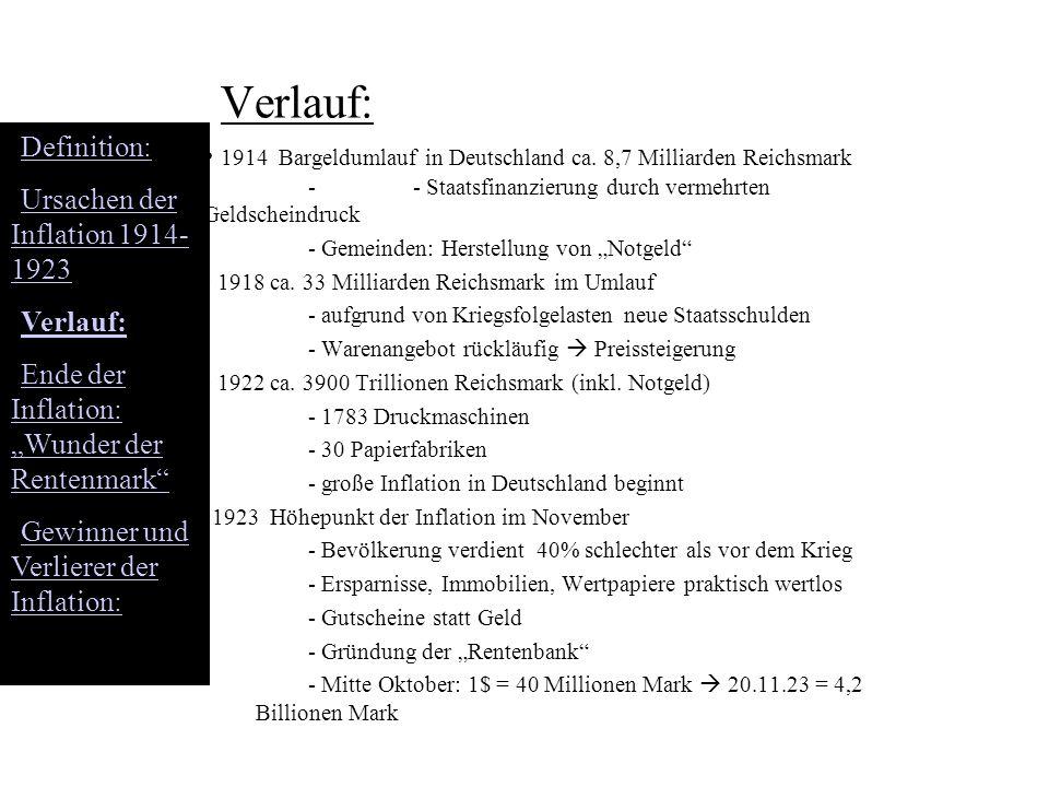 """Verlauf: Definition: Ursachen der Inflation 1914-1923. Verlauf: Ende der Inflation: """"Wunder der Rentenmark"""