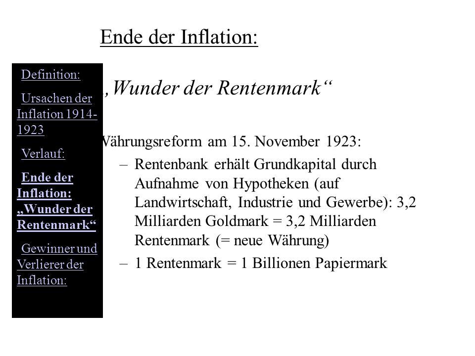 """Ende der Inflation: """"Wunder der Rentenmark"""