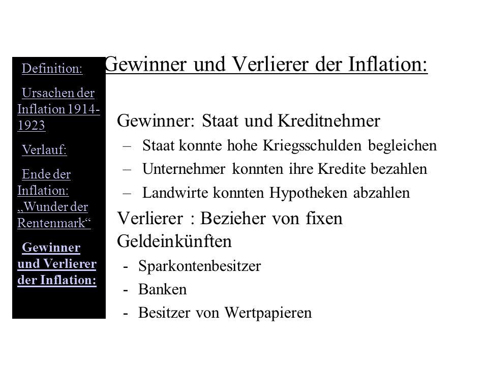 Gewinner und Verlierer der Inflation: