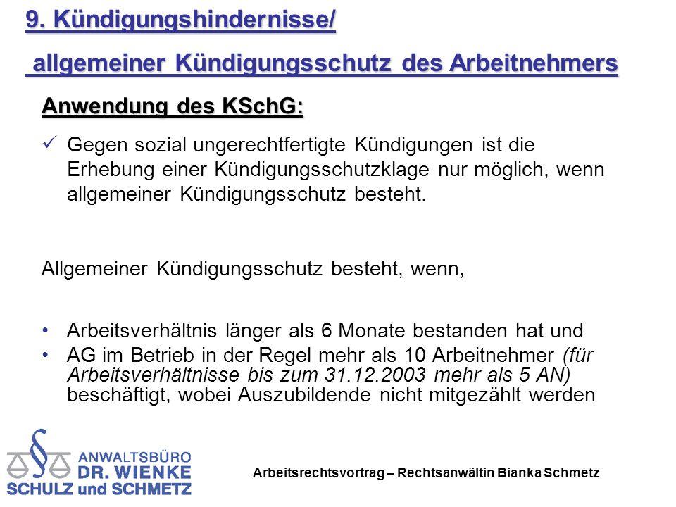 Arbeitsrechtsvortrag – Rechtsanwältin Bianka Schmetz