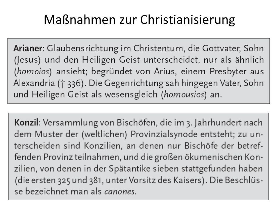 Maßnahmen zur Christianisierung