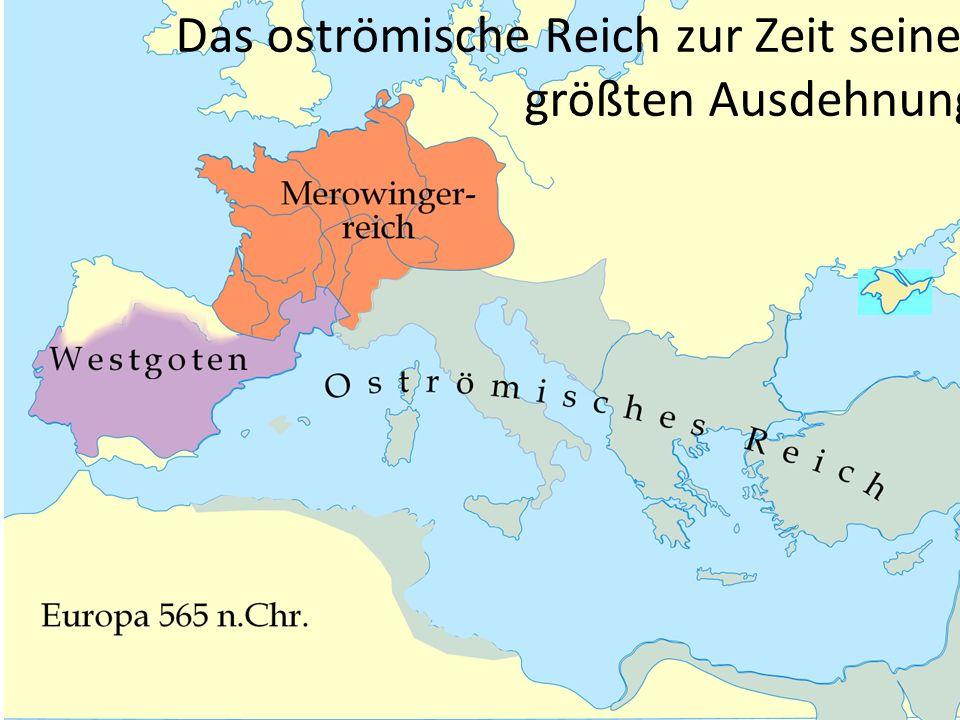 Das oströmische Reich zur Zeit seiner größten Ausdehnung