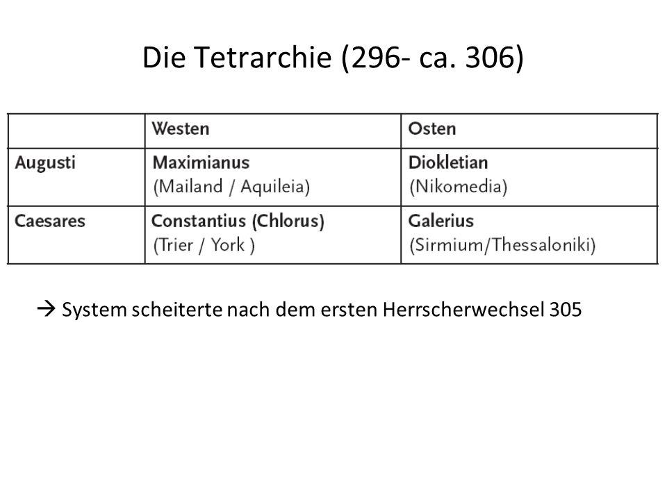 Die Tetrarchie (296- ca. 306) ..  System scheiterte nach dem ersten Herrscherwechsel 305