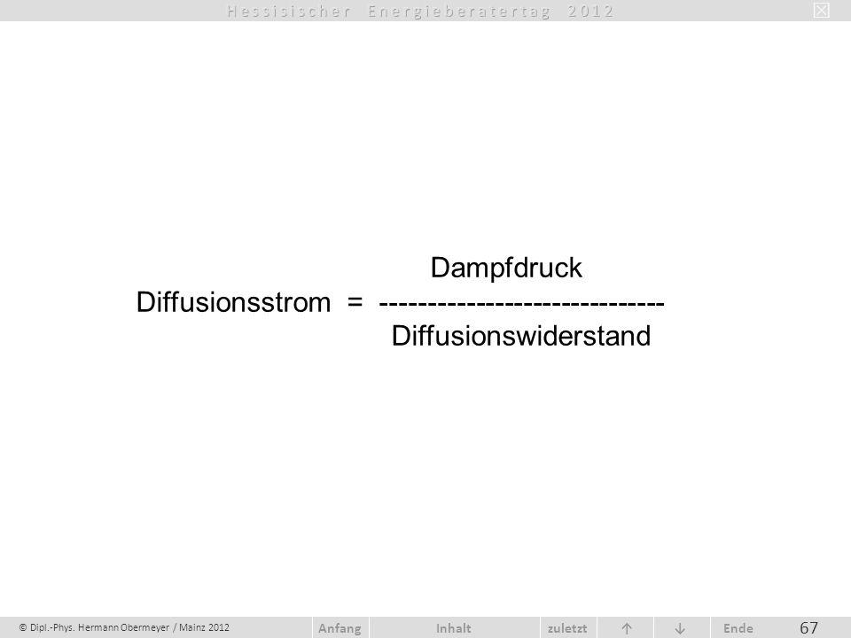 Dampfdruck Diffusionsstrom = ------------------------------ Diffusionswiderstand