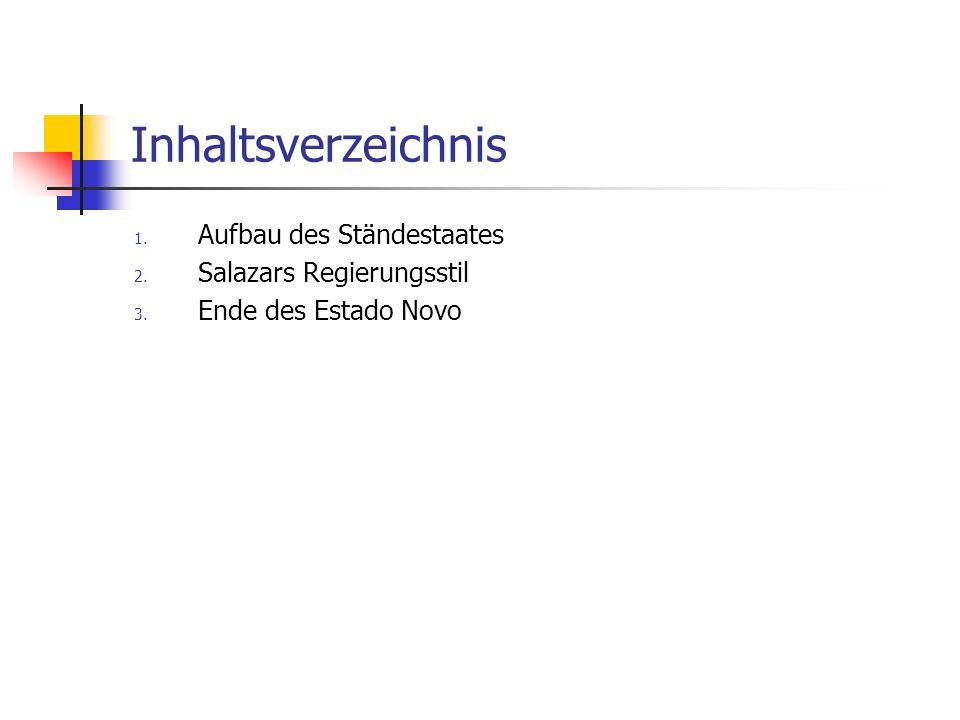 Inhaltsverzeichnis Aufbau des Ständestaates Salazars Regierungsstil