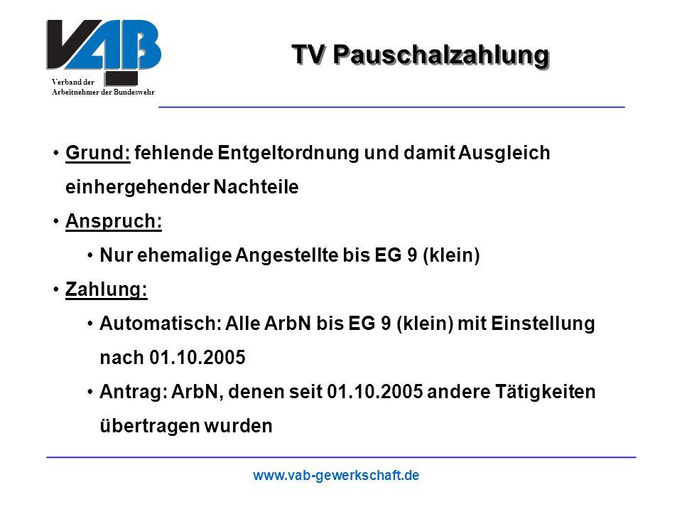 TV Pauschalzahlung Grund: fehlende Entgeltordnung und damit Ausgleich einhergehender Nachteile. Anspruch: