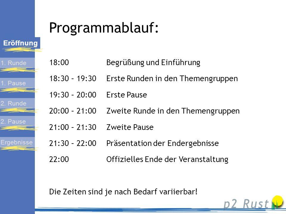 Programmablauf: 18:00 Begrüßung und Einführung