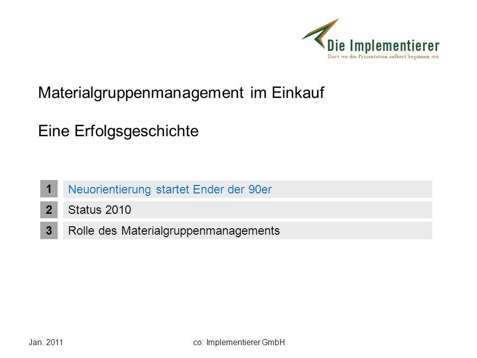 Materialgruppenmanagement im Einkauf Eine Erfolgsgeschichte