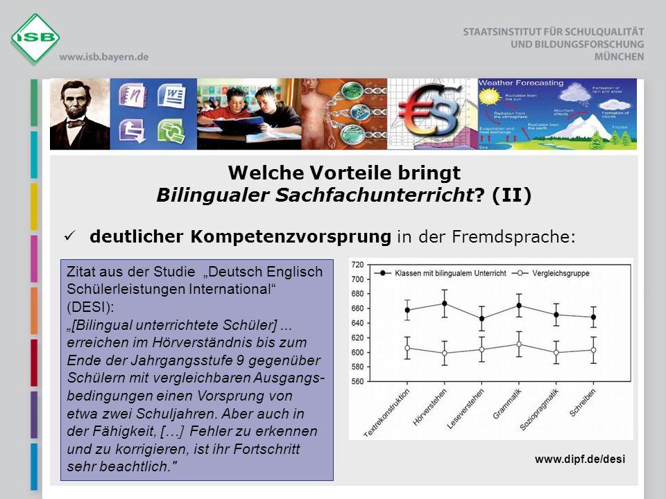 Welche Vorteile bringt Bilingualer Sachfachunterricht (II)