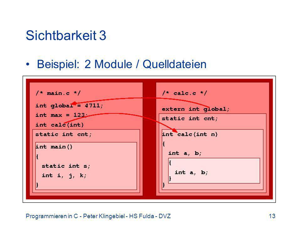 Sichtbarkeit 3 Beispiel: 2 Module / Quelldateien