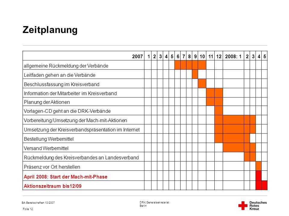 Zeitplanung 2007. 1. 2. 3. 4. 5. 6. 7. 8. 9. 10. 11. 12. 2008: 1. allgemeine Rückmeldung der Verbände.