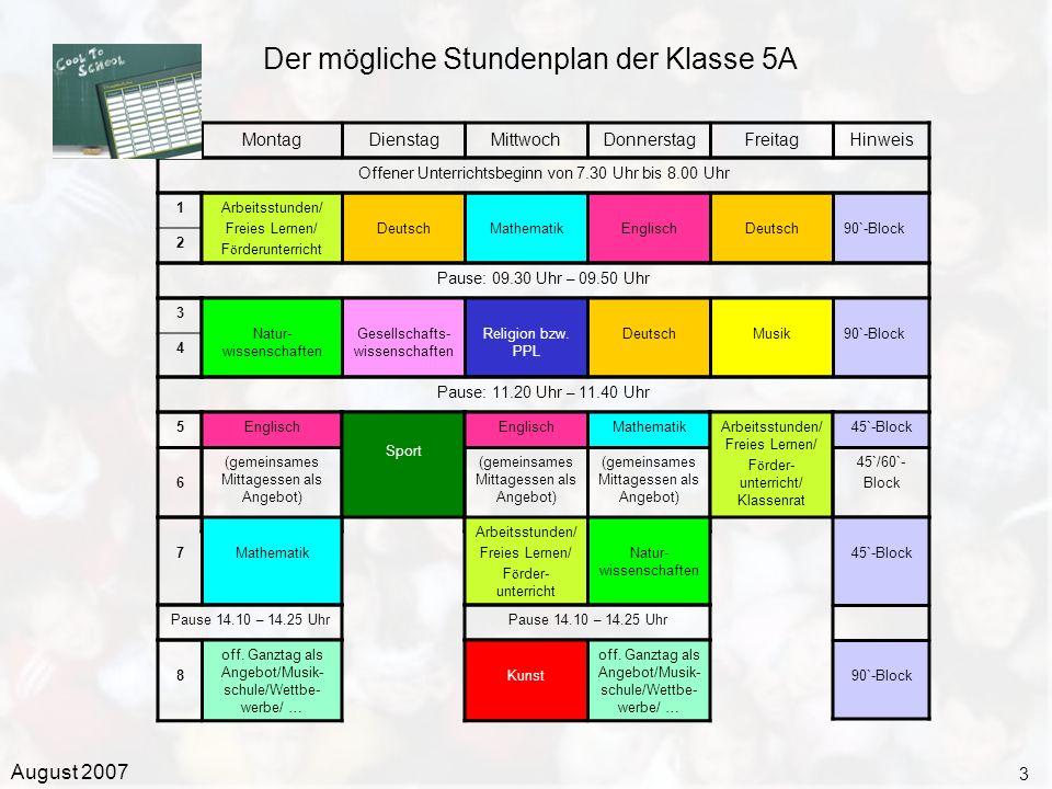 Der mögliche Stundenplan der Klasse 5A