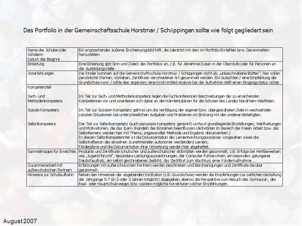Das Portfolio in der Gemeinschaftsschule Horstmar / Schöppingen sollte wie folgt gegliedert sein