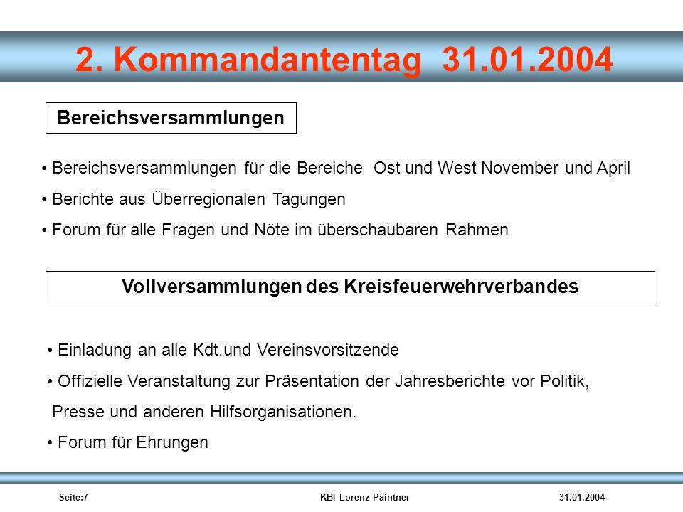 Bereichsversammlungen Vollversammlungen des Kreisfeuerwehrverbandes
