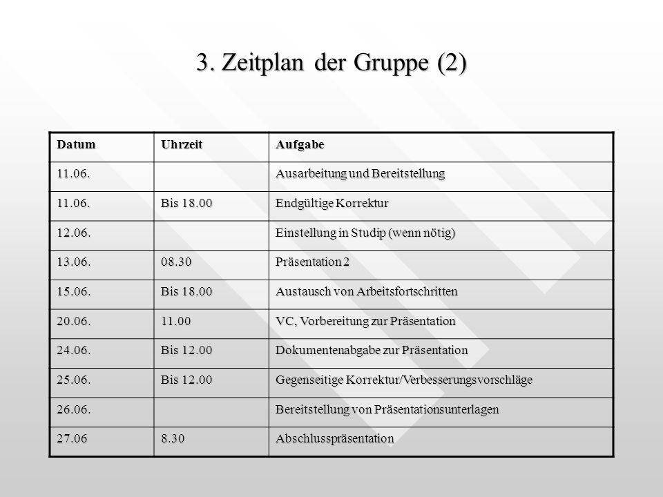 3. Zeitplan der Gruppe (2) Datum Uhrzeit Aufgabe 11.06.
