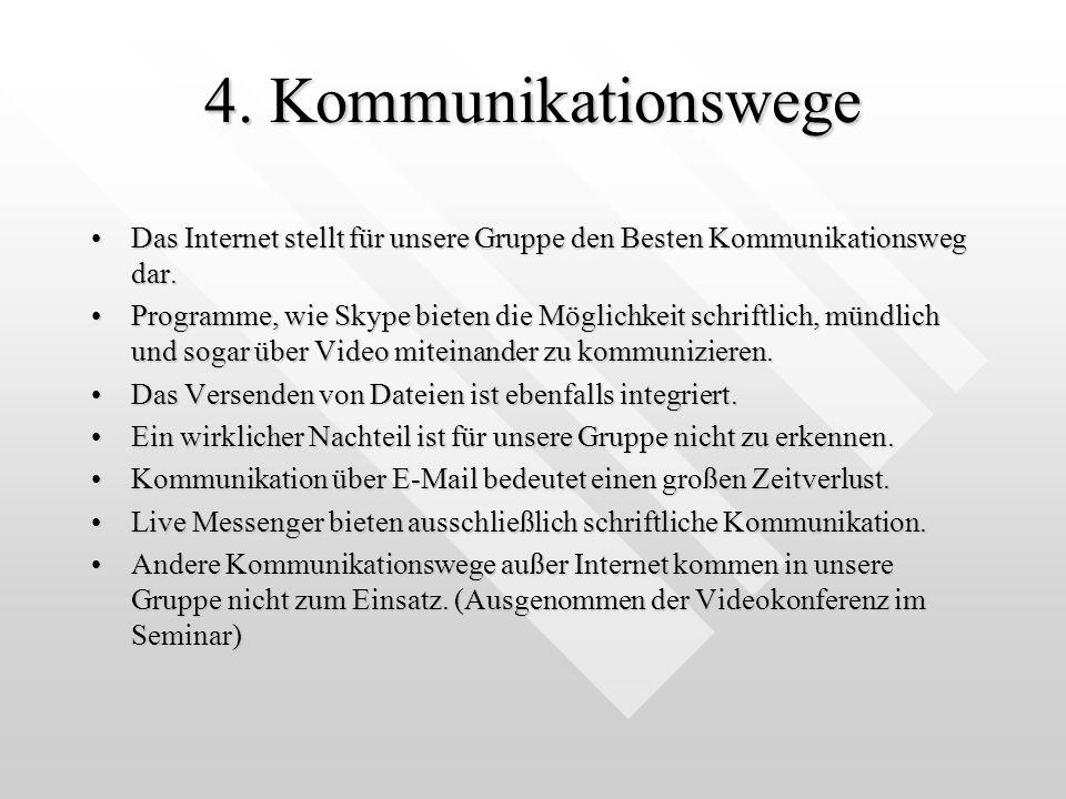 4. Kommunikationswege Das Internet stellt für unsere Gruppe den Besten Kommunikationsweg dar.