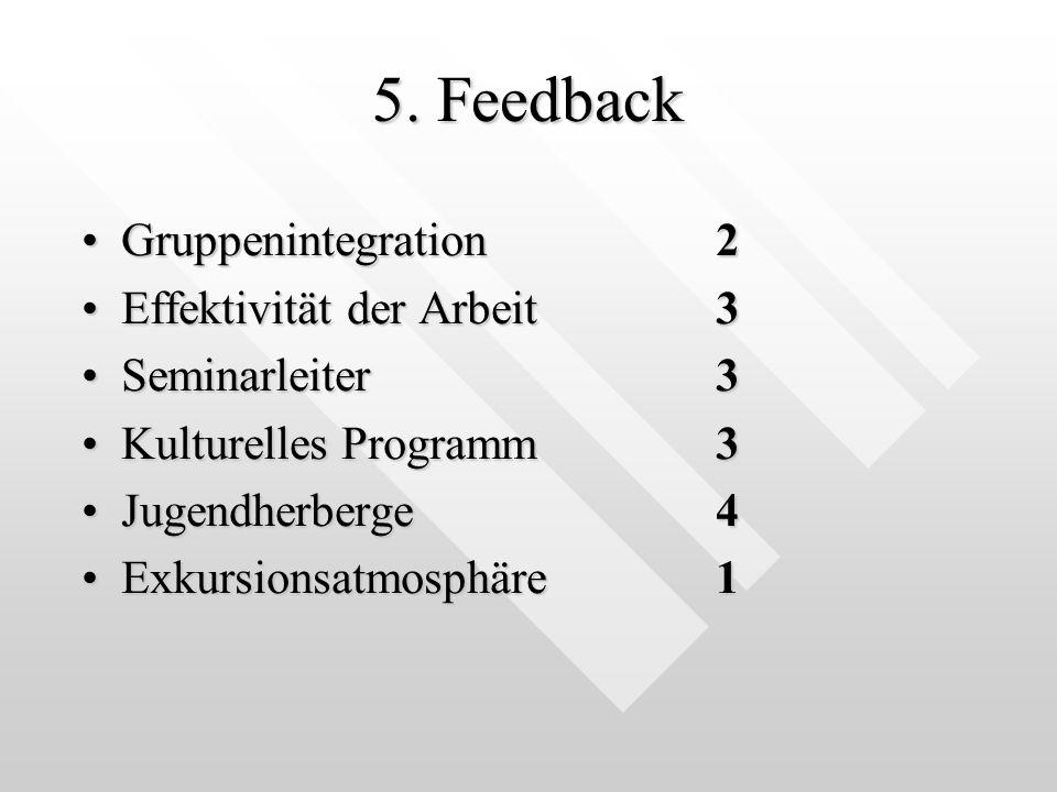 5. Feedback Gruppenintegration 2 Effektivität der Arbeit 3