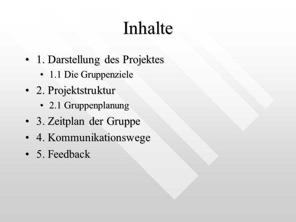 Inhalte 1. Darstellung des Projektes 2. Projektstruktur