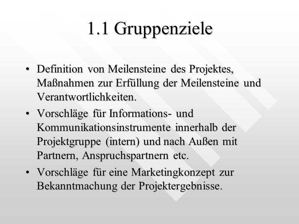 1.1 Gruppenziele Definition von Meilensteine des Projektes, Maßnahmen zur Erfüllung der Meilensteine und Verantwortlichkeiten.