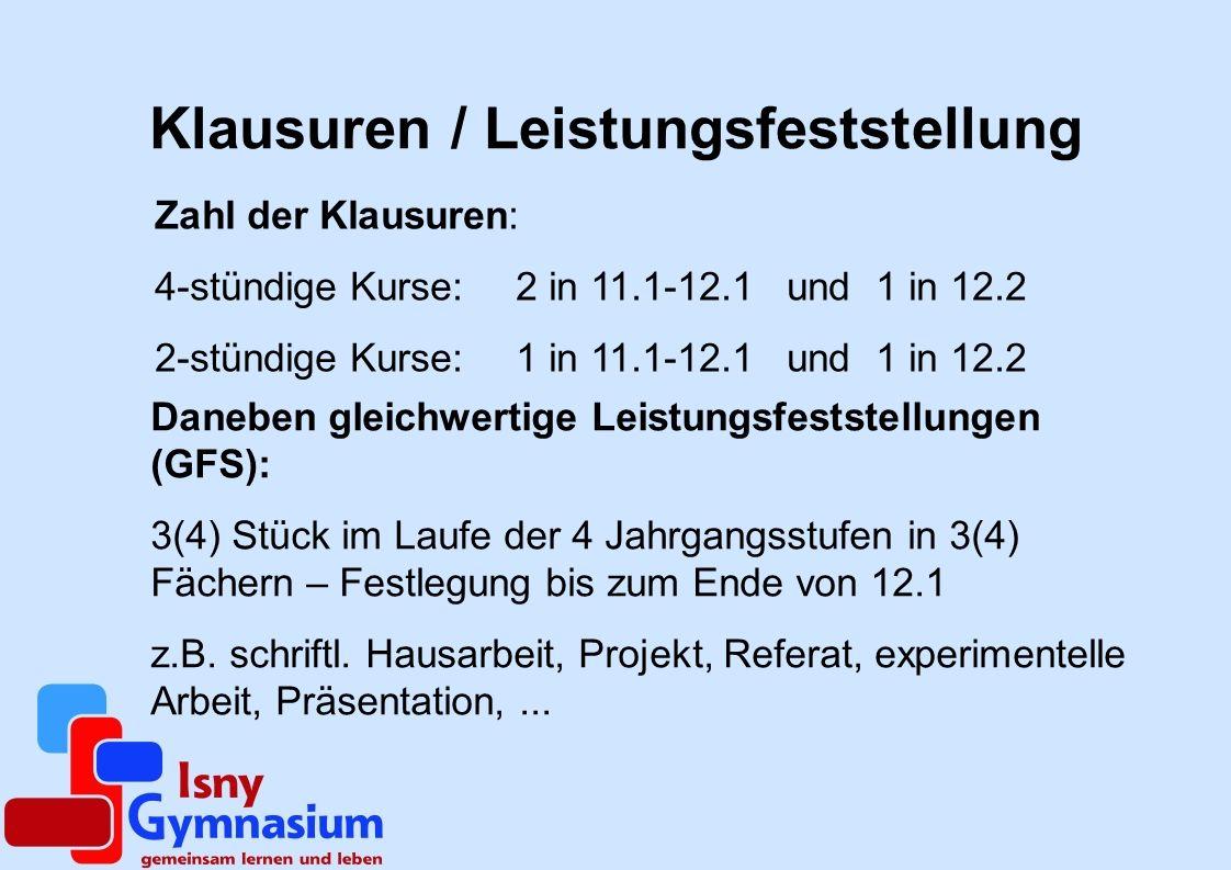 Klausuren / Leistungsfeststellung
