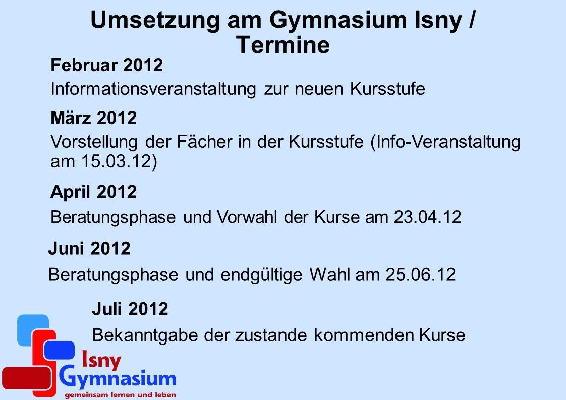 Umsetzung am Gymnasium Isny / Termine