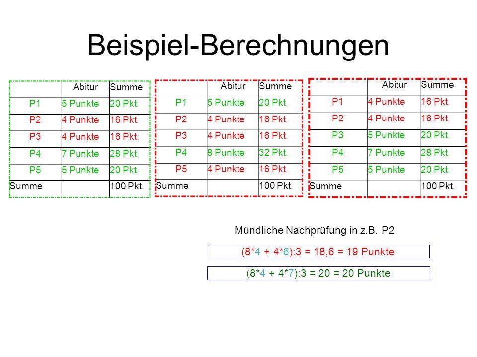 Beispiel-Berechnungen