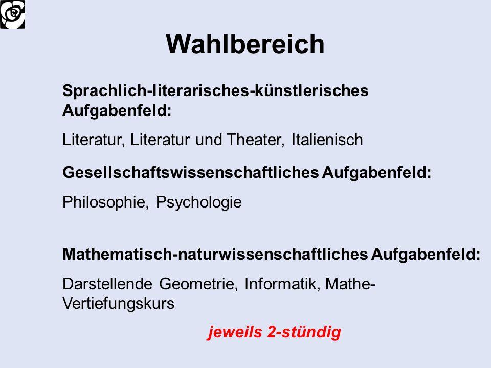Wahlbereich Sprachlich-literarisches-künstlerisches Aufgabenfeld: