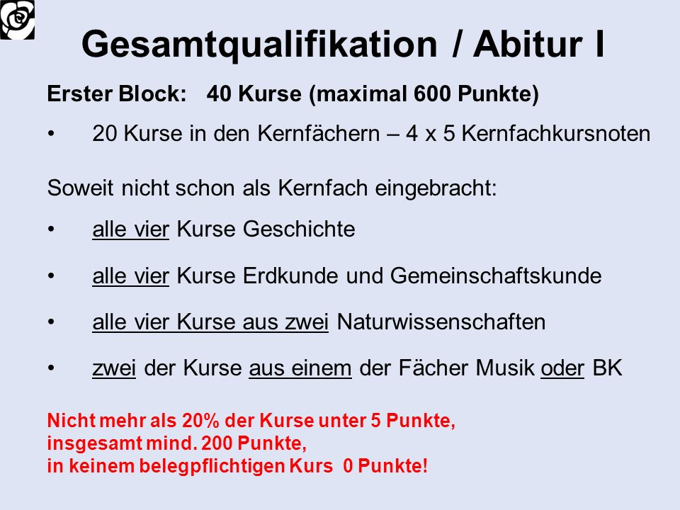 Gesamtqualifikation / Abitur I
