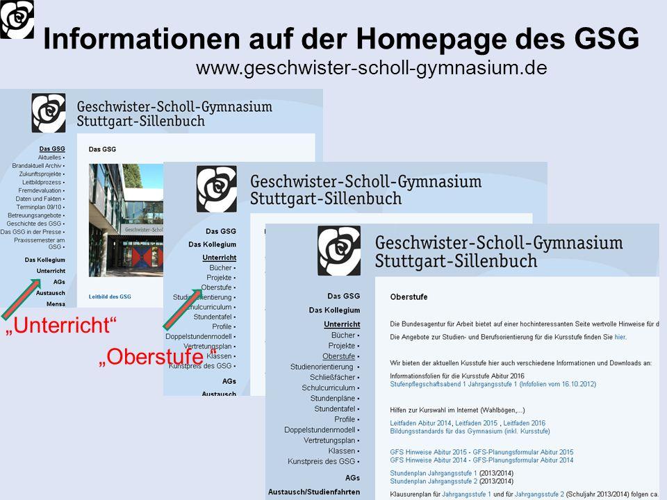Informationen auf der Homepage des GSG