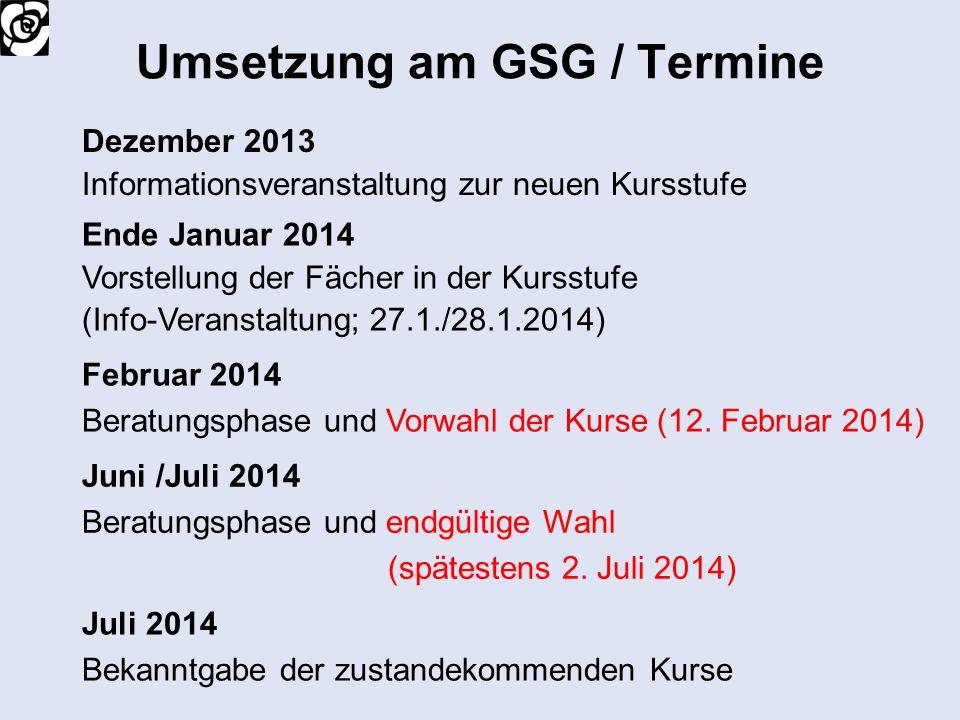 Umsetzung am GSG / Termine