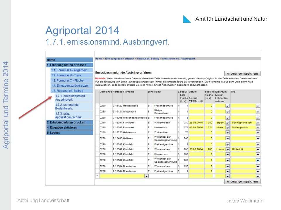 Agriportal 2014 1.7.1. emissionsmind. Ausbringverf.