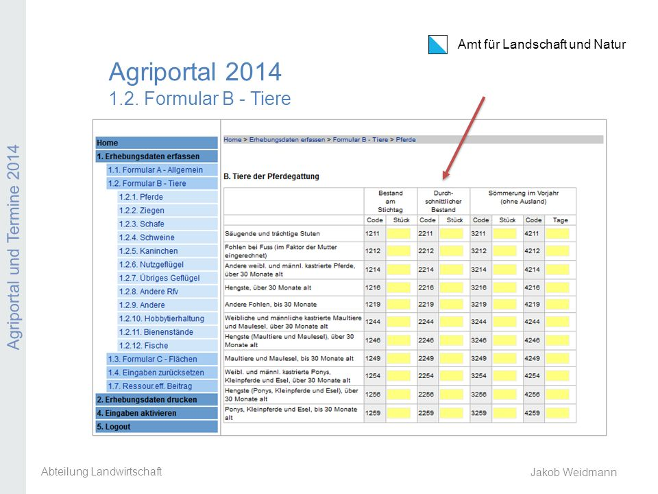 Agriportal 2014 1.2. Formular B - Tiere