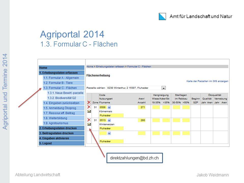 Agriportal 2014 1.3. Formular C - Flächen