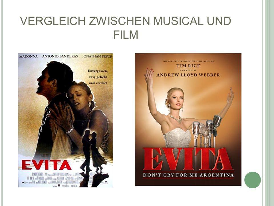 VERGLEICH ZWISCHEN MUSICAL UND FILM