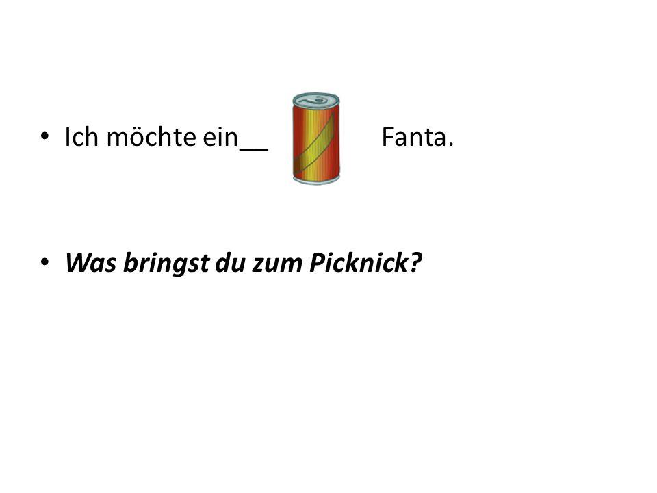 Ich möchte ein__ Fanta. Was bringst du zum Picknick
