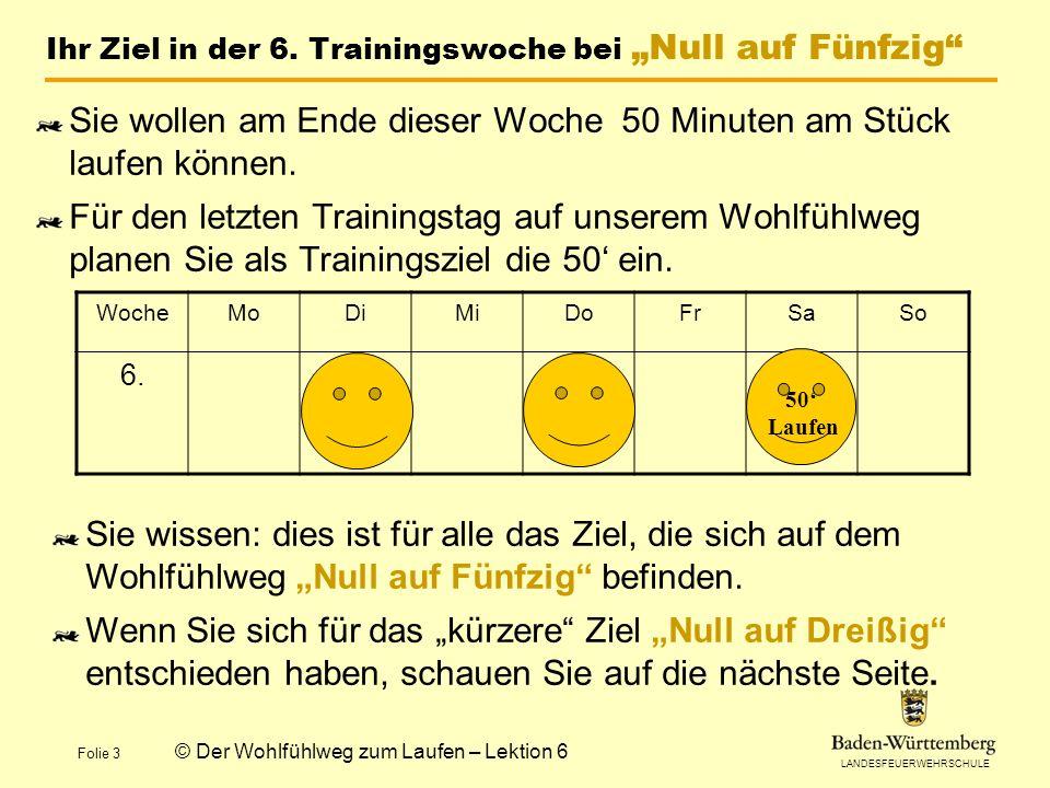 """Ihr Ziel in der 6. Trainingswoche bei """"Null auf Fünfzig"""
