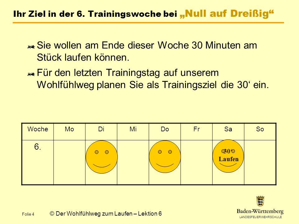 """Ihr Ziel in der 6. Trainingswoche bei """"Null auf Dreißig"""