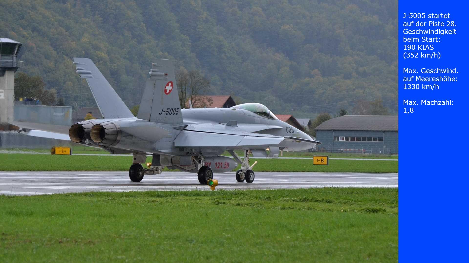 J-5005 startet auf der Piste 28. Geschwindigkeit beim Start: