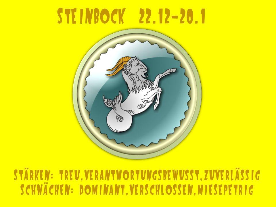 Steinbock 22.12-20.1 Stärken: treu,verantwortungsbewusst,zuverlässig
