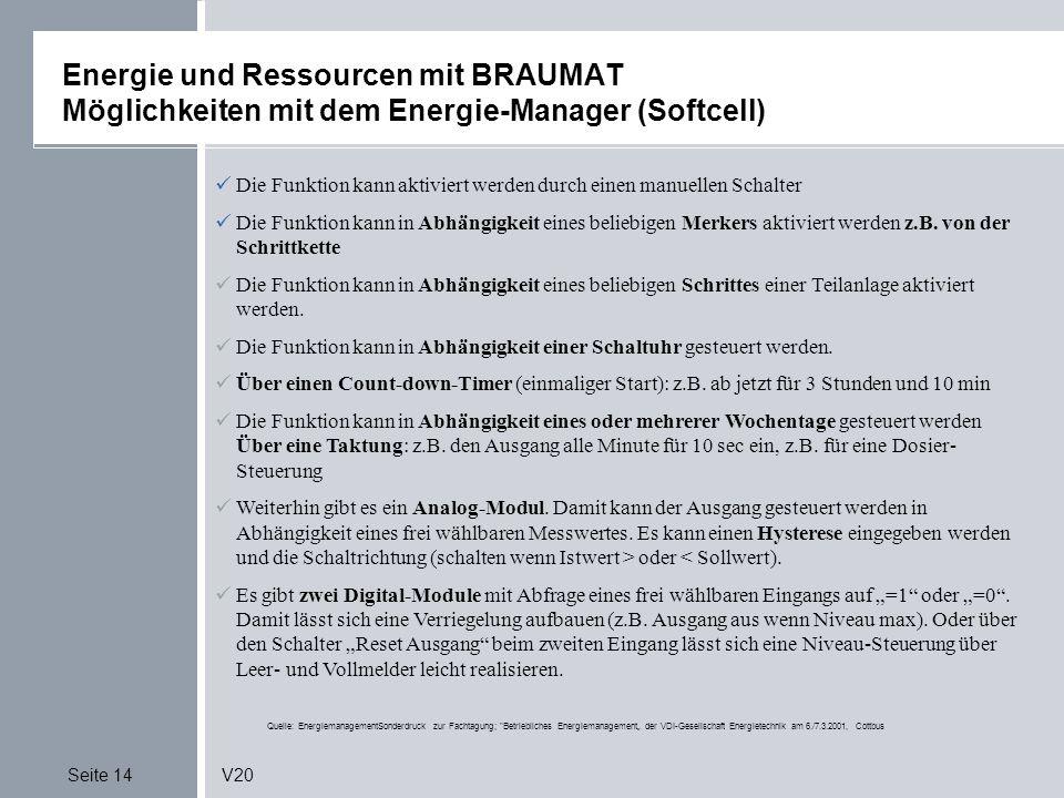 Energie und Ressourcen mit BRAUMAT Möglichkeiten mit dem Energie-Manager (Softcell)