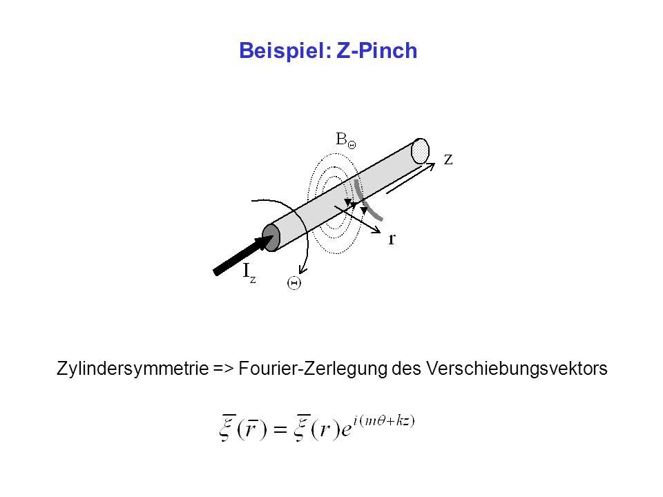 Beispiel: Z-Pinch Zylindersymmetrie => Fourier-Zerlegung des Verschiebungsvektors