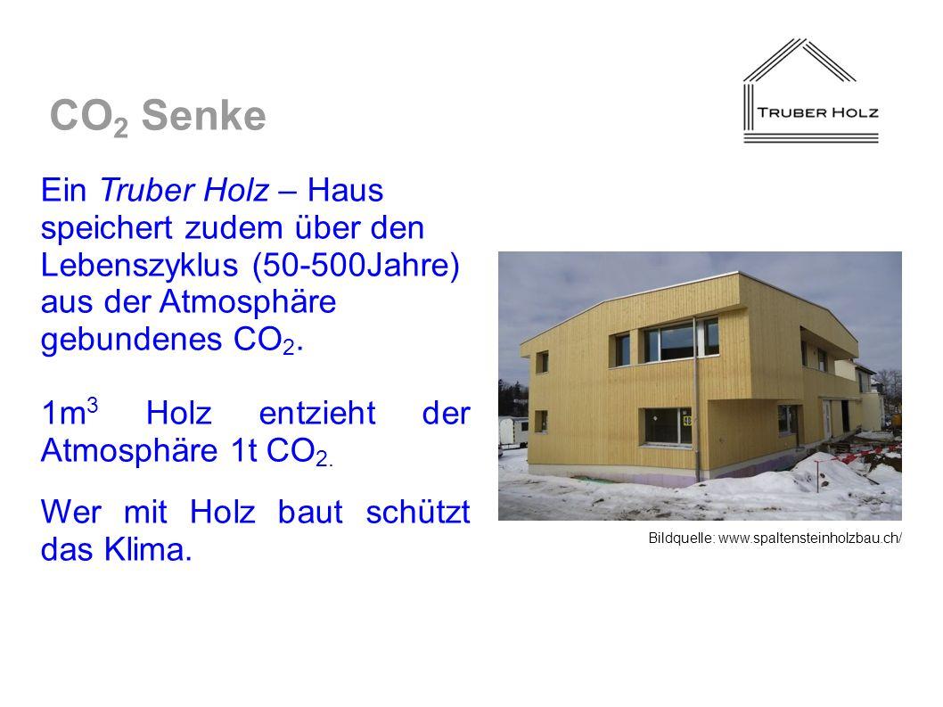 CO2 Senke Ein Truber Holz – Haus speichert zudem über den Lebenszyklus (50-500Jahre) aus der Atmosphäre gebundenes CO2.