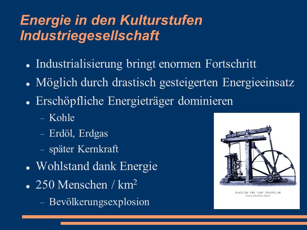 Energie in den Kulturstufen Industriegesellschaft