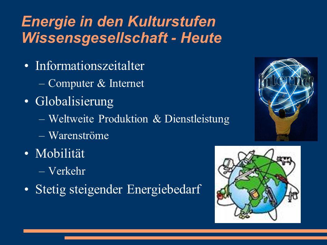 Energie in den Kulturstufen Wissensgesellschaft - Heute