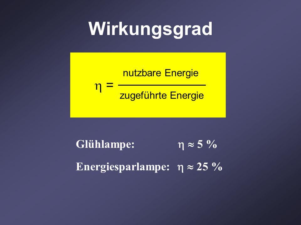 Wirkungsgrad  = Glühlampe:   5 % Energiesparlampe:   25 %