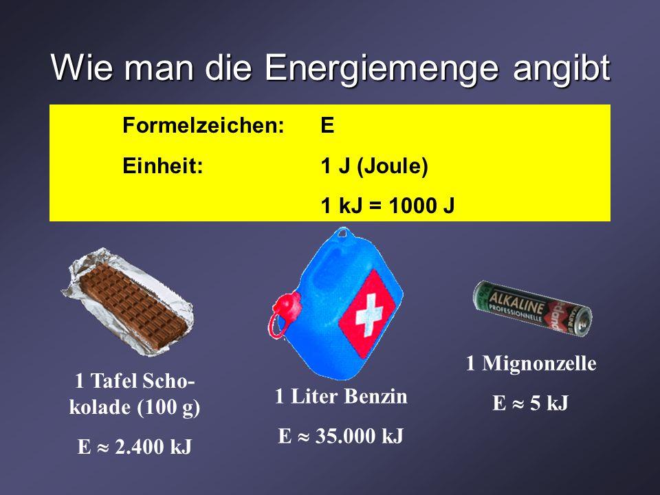 Wie man die Energiemenge angibt