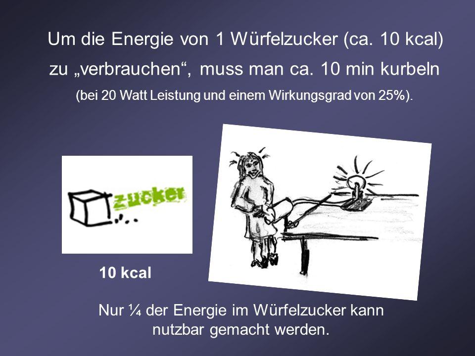 Um die Energie von 1 Würfelzucker (ca. 10 kcal)