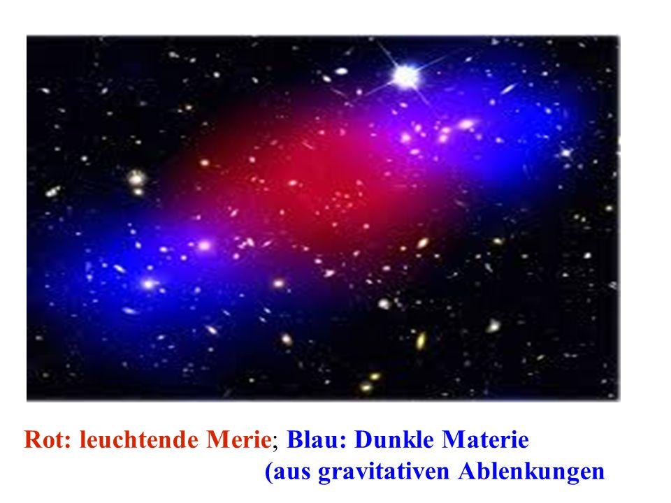 Rot: leuchtende Merie; Blau: Dunkle Materie