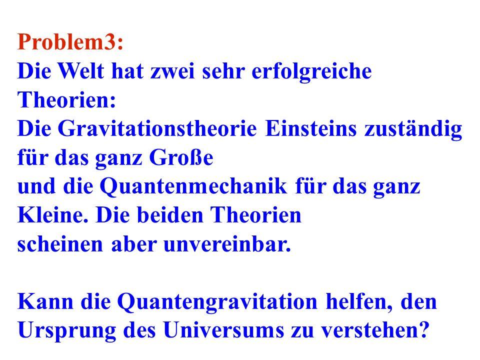 Problem3: Die Welt hat zwei sehr erfolgreiche Theorien: Die Gravitationstheorie Einsteins zuständig für das ganz Große.