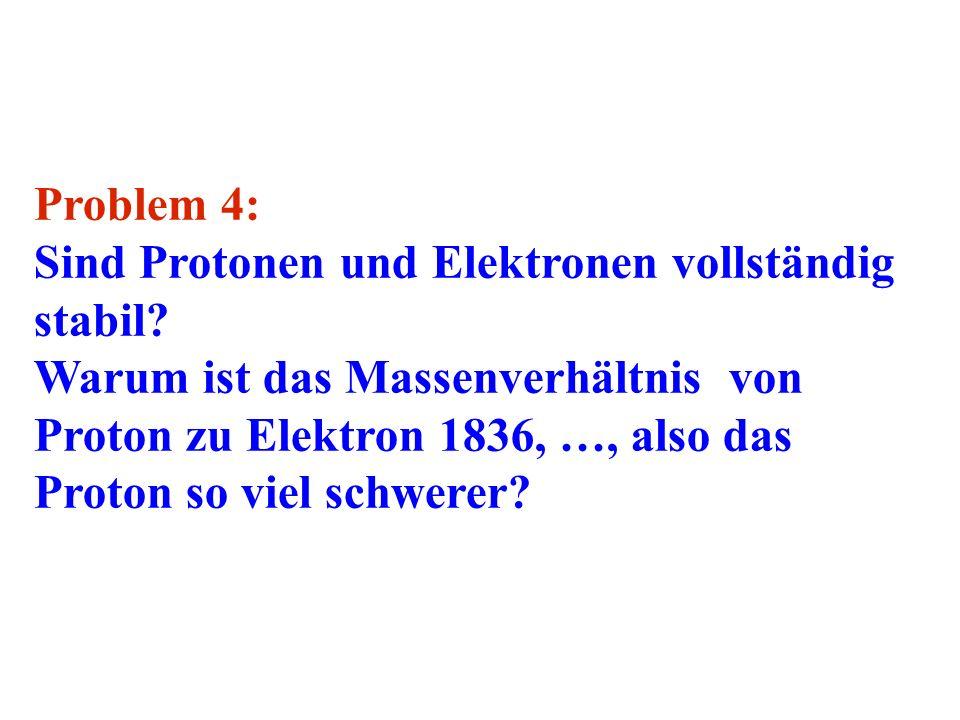 Problem 4: Sind Protonen und Elektronen vollständig stabil
